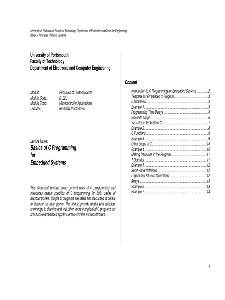 C PROGRAMMING LECTURE NOTES PDF