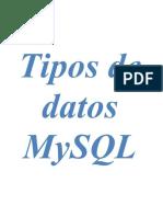Tipos De Datos MySQL