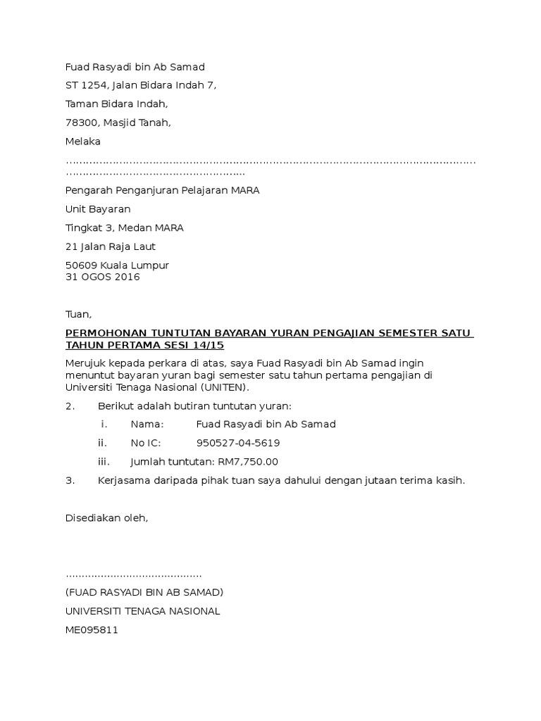 Surat Tuntutan Yuran Mara