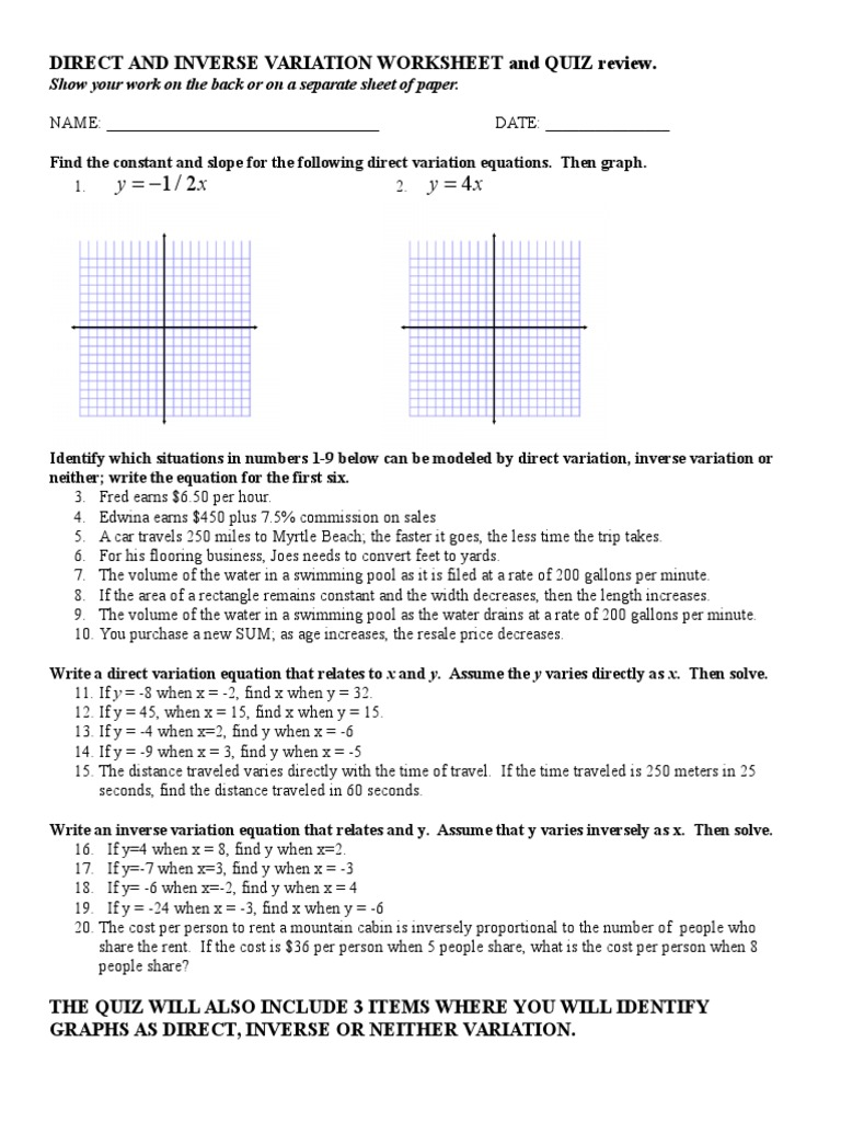 Printables Worksheet On Inverse Variation inverse variation worksheet davezan direct and worksheets davezan