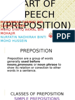 Part of Speech (Preposition)
