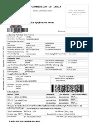 Sample Medical Visa Application Form For Ivac Travel Visa Bangladesh