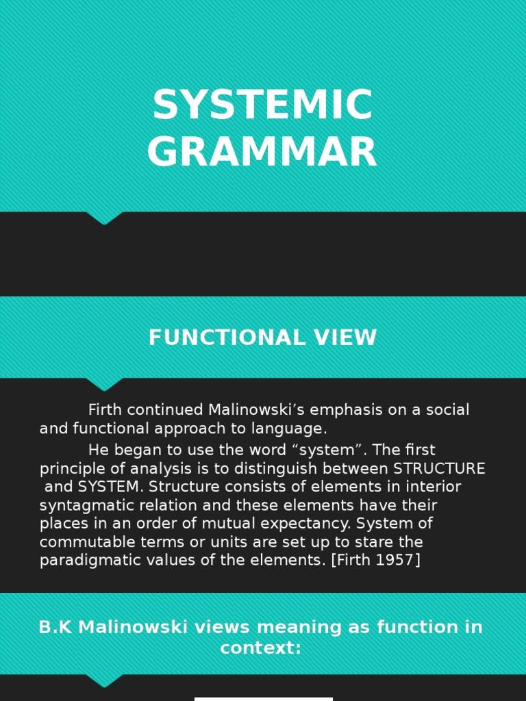 Systemic Grammar (Eng115) Powerpoint Presentation | Grammar ...