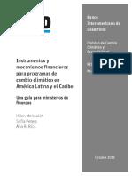 Instrumentos y Mecanismos Financieros Para Programas de Cambio Climatico en America Latina