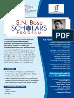 SN Bose Scholars Program Flyer (2016)