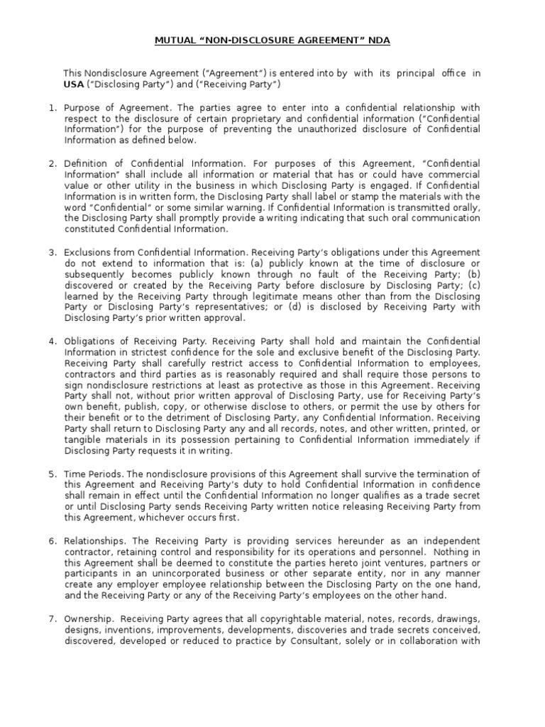 Nda 2 Non Disclosure Agreement Politics