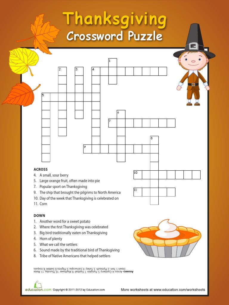 Thanksgiving Puzzle Worksheets - Kidz Activities