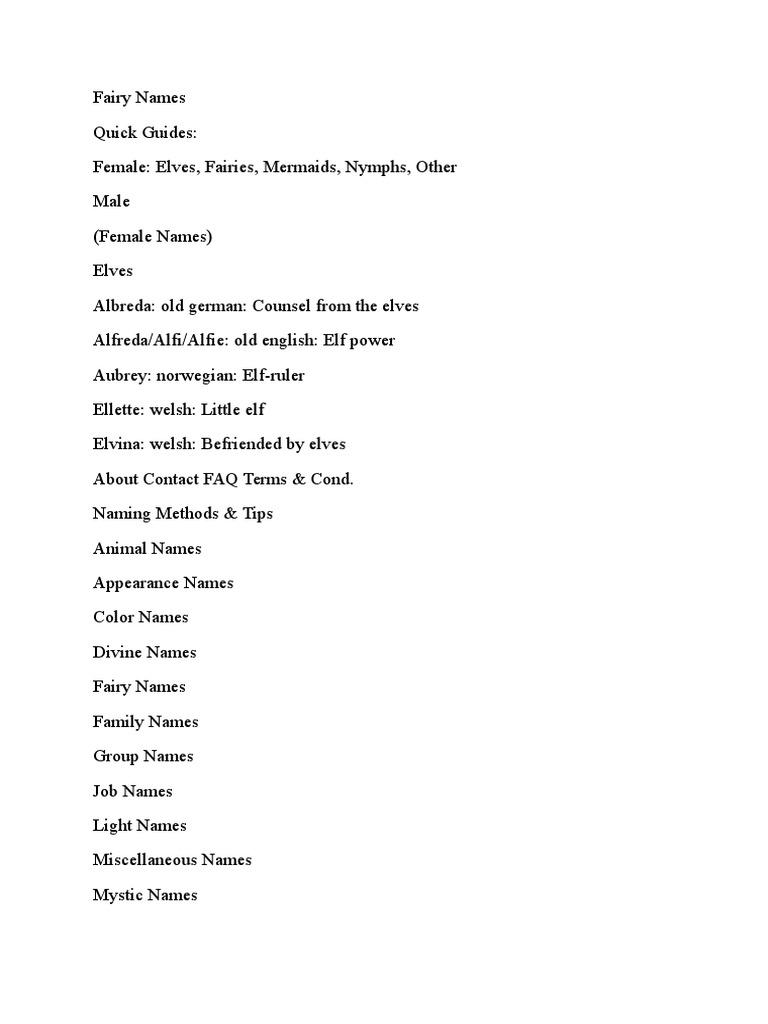 Fairy Names.docx | Elves | Fairies