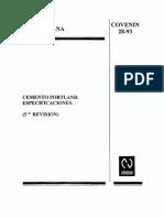 28-93. Cemento Portlánd. Especificaciones (5ª Revisión)
