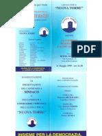 1999 13 GIUGNO NUOVA TORRE ELEZIONI FRANCESCO DI MAGGIO CANDIDATI E LISTA RISULTATI PALAZZOTTO SINDACO BOLOGNA CONSIGLIO NUOVA TORRE DIONISI FERRANTE AIELLO BILLECI BRUNO NINO MANNINO CRISCI PAGANO