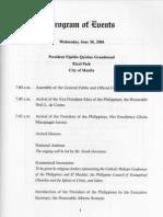 Arroyo Inaugural Program