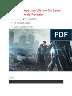 Batman v Superman Ultimate Cut Leakssss Early Plot Details Revealed