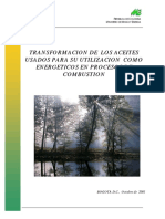Transformación de Los Aceites Usados Para Su Utilización Como Energeticos en Procesos de Combustion - UPME