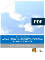 Economía Vasca. NO ES CIERTO. EUSKADI NO PIERDE PESO EN ESPAÑA