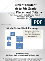 6th to 7th Grade Placement Criteria - Parent Communication