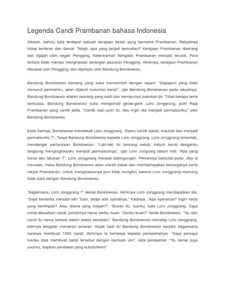 Legenda Candi Prambanan Bahasa Indonesia Docx