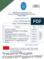 CAMPEONATO MAGISTERIAL  -2016 PROGRAMACION 8° FECHA FUTSAL MASTER