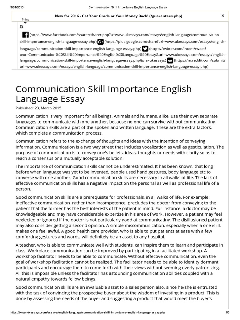 Essay On Myself In English Communication Skill Importance English Language Essay Communication Essay About High School also Health Care Essay Importance Of English Language Essay Essay About English Language  A Modest Proposal Essay Topics