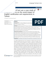 ConseqConsequences of test use_ a case study of employers' voice on the social impact of English certification exit requirements in Taiwanuences of Test Use_ a Case Study of Employers' Voice on the Social Impact of English Certification Exit Requirements in Taiwan