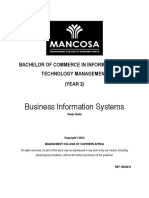 BCom ITM 2 Business Information Systems Jan 2014