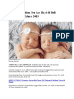 Angka Kematian Ibu Dan Bayi Di Bali Menurun Di Tahun 2015