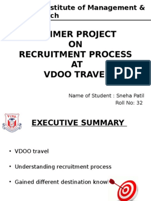 vdoo Internship Final Ppt   Recruitment   Tourism