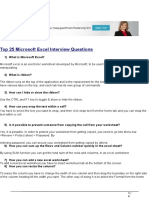 Top 25 Microsoft Excel Interview Questions