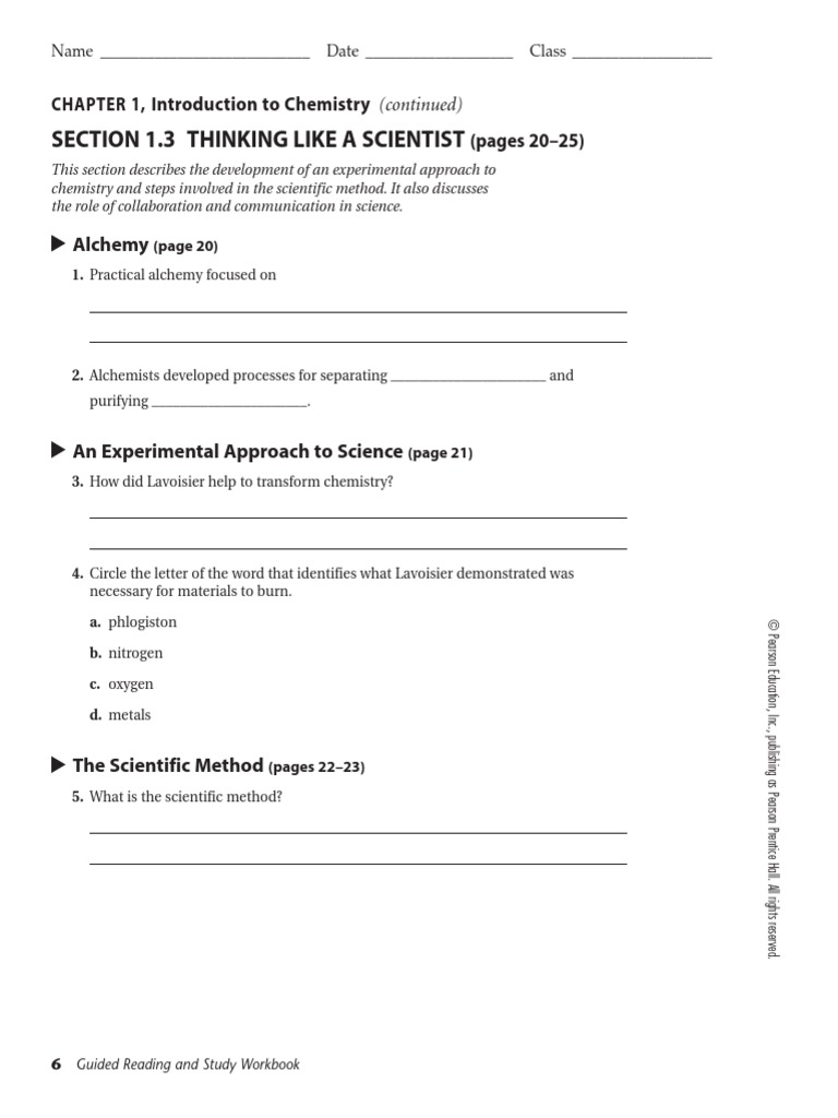 worksheet Introduction To Chemistry Worksheet section 1 3 and 4 worksheet experiment scientific method