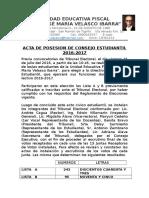Acta de Posesion de Consejo Estudiantil 2016