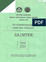 Sbmptn 2013 Tkd Saintek Kode 233