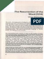 SHKLOVSKY, Viktor - The Resurrection of the Word