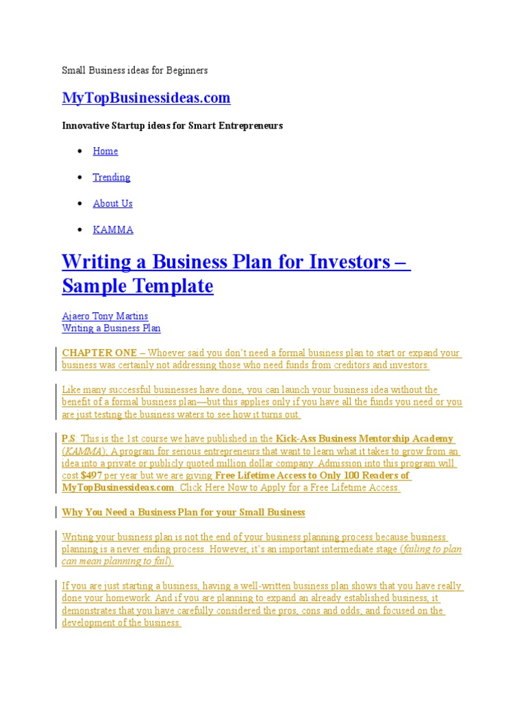 Small Business Ideas for Beginners   Business Plan   Strategic ...