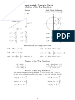Math Resources Trigonometric Formulas