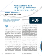 Breaking Down Words to Build Meaning- Morphology, Vocabulary, And Reading Comprehension in the Urban Classroom