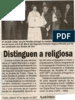 Satélite 25-08-07 Distinguen a religiosa