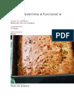 Pão de Abobrinha é Funcional e Levinho123