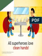Hispanic Boygirl Superhero Handwashing Poster 8x11