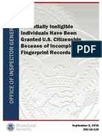 Potentially Ineligible Individuals Have Been Granted U.S. Citizenship Because of Incomplete Fingerprint Records - DHS