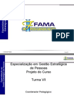 Apresentação Especialização em Gestão Estratégica de Pessoas