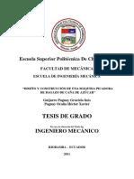 """""""Diseño y Construcción de Una Máquina Picadora de Bagazo de Caña de Azúcar"""""""