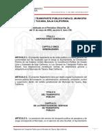 Reglamento de Transporte Publico Para El Municipio de Tijuana, Bc