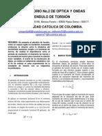 Laboratorio Optica y Ondas. PENDULO DE TORSION