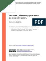 Cachorro, Gabriel (2010). Deporte, Jovenes y Procesos de Subjetivacion