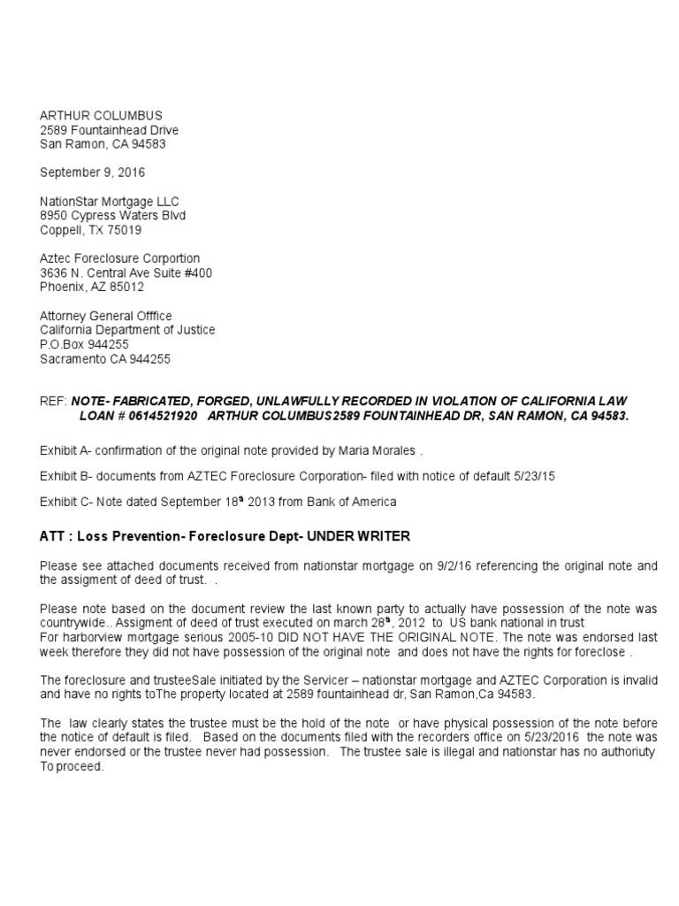 Letter # 2 9 12 16 Short Vision   Foreclosure   Credit
