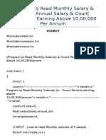 C++ Arrays Program To Calculate Annual Salary