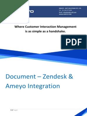 Zendesk & Ameyo Integration Approach Document | Application