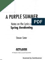 A Purple Summer Notes on the Lyrics of Spring Awakening