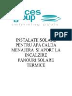 Instalatie Solara Pentru Apa Calda Menajera