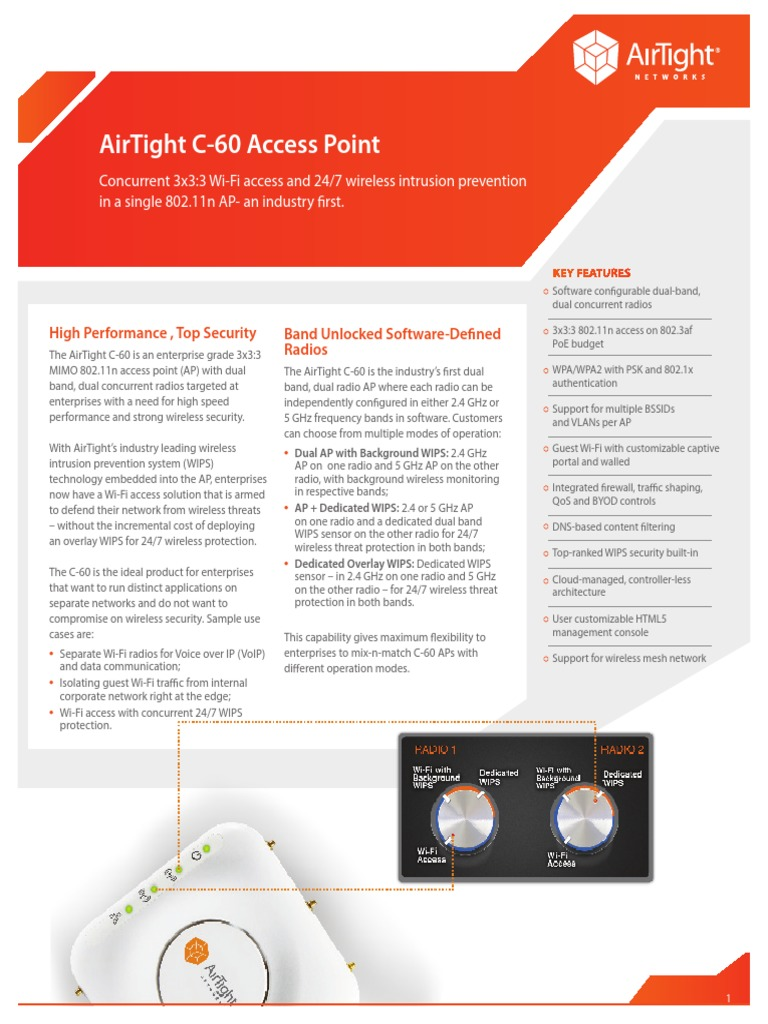 AirTight C 60 Access Point Datasheet | Ieee 802 11