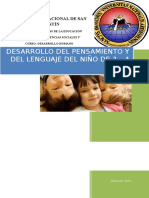 DESARROLLO DEL PENSAMIENTO Y DEL LENGUAJE DEL NIÑO DE 3